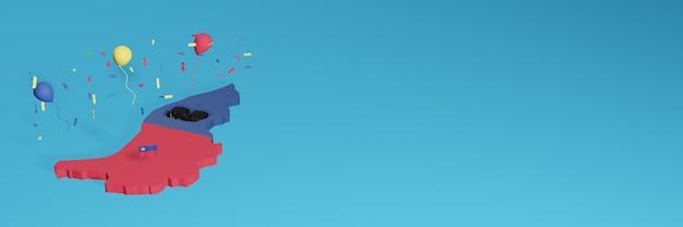 ソーシャルメディア用のライヒテンシュタイン国旗と組み合わせた3dマップレンダリングと追加されたウェブサイトの背景カバー独立記念日と全国ショッピングデーを祝うための赤青の風船 Premium写真