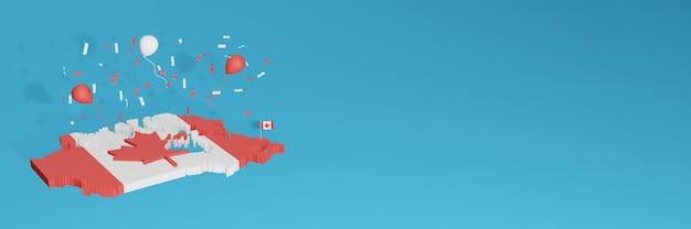 Визуализация 3d-карты флага канады для социальных сетей и обложки Premium Фотографии
