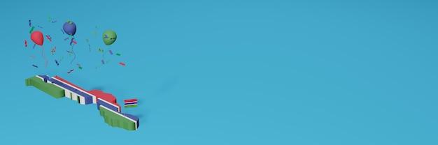 Визуализация 3d-карты флага гамбии для социальных сетей и веб-сайта обложки Premium Фотографии