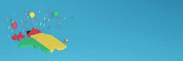 ソーシャルメディアとカバーウェブサイトのためのギニアビサウ旗の3dマップレンダリング Premium写真