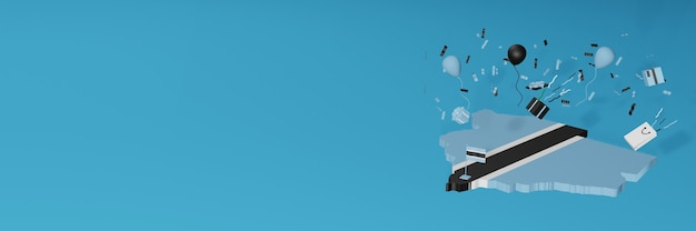 全国的なショッピングの日と独立記念日を祝うためのボツワナの国旗の3dマップレンダリング Premium写真