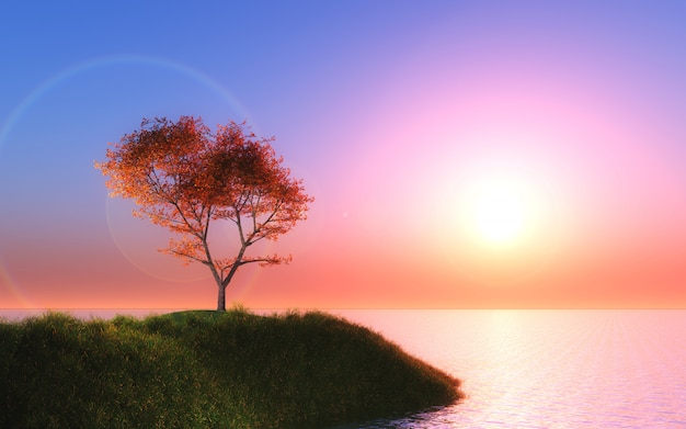 3d maple tree against a sunset sky Free Photo