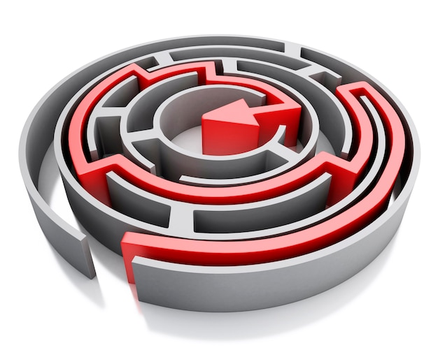 3d maze with red arrow marking the route. Premium Photo