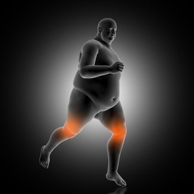Fondo medico 3d che mostra jogging maschio di peso eccessivo Foto Gratuite