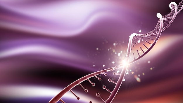 3d medical background with abstract dna strand Free Photo