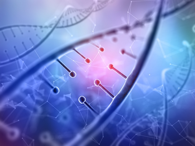 3d medical background with close up of a dna strands on low poly design Free Photo