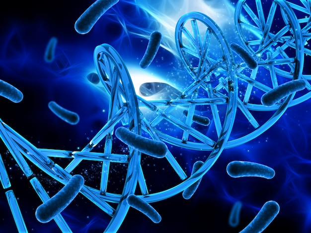 3d medical background with dna strand and virus cells Free Photo