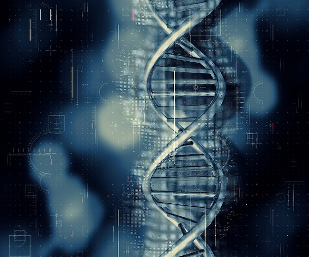 3d medical background with dna strand Free Photo