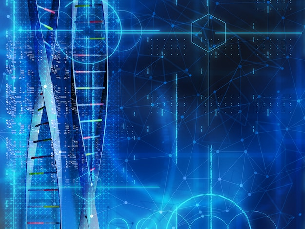 3d medical background with dna strands and code Free Photo