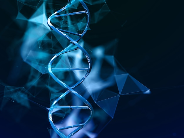 3d medical background with dna strands on plexus design Free Photo