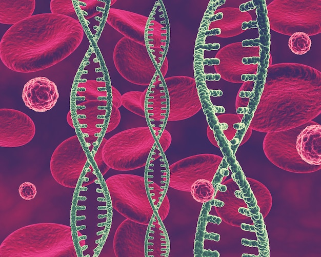 3d medical background with dna strands, virus cells and blood cells Free Photo