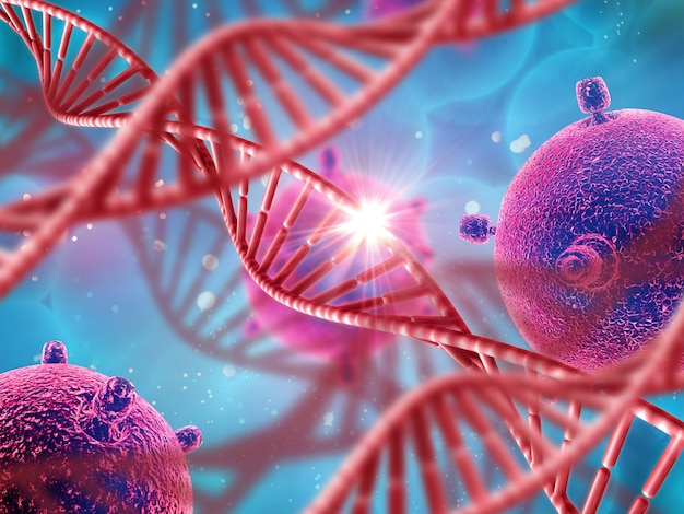 3d medical background with dna strands and virus cells Free Photo