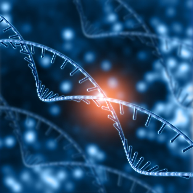 3d medical background with dna strands Premium Photo