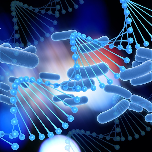 3d medical background with dna strands Free Photo