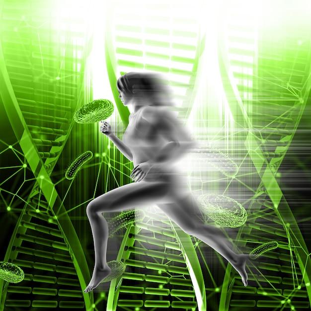 Fondo medico 3d con la femmina che corre velocemente sui fili del dna e sulle cellule del virus Foto Gratuite