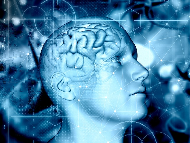 3d medical background with male figure and brain highlighted Premium Photo