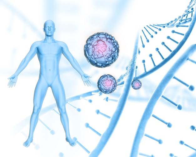 3d medical background with male figure on dna strands and virus cells Free Photo