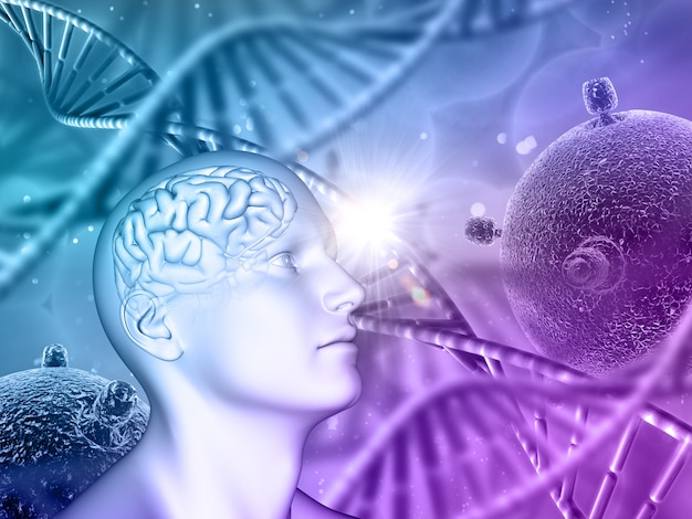3d medical background with male head, brain, dna strands and virus cells Free Photo