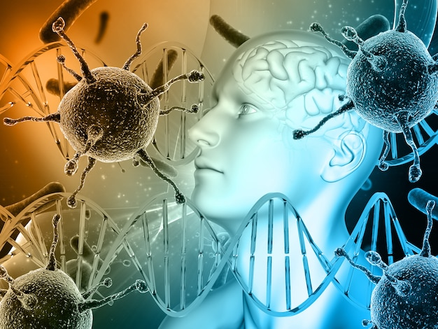 3d medical background with male head, brain with virus cells and dna strands Premium Photo