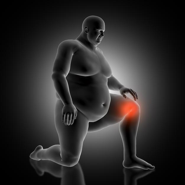 3d медицинский фон с избыточной мужской фигурой, держащей его колено в боли Бесплатные Фотографии
