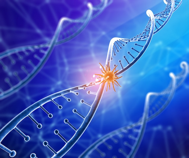 3d medical background with virus cell on dna strand Free Photo