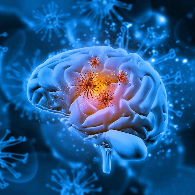 3d medical background with virus cells attacking the brain Premium Photo