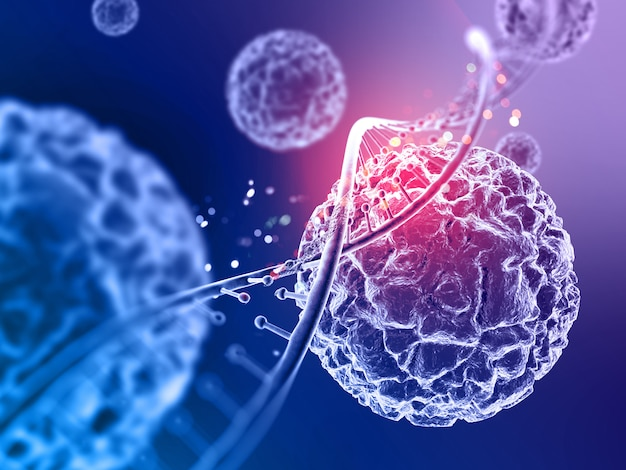 3d medical background with virus cells and dna strand Free Photo