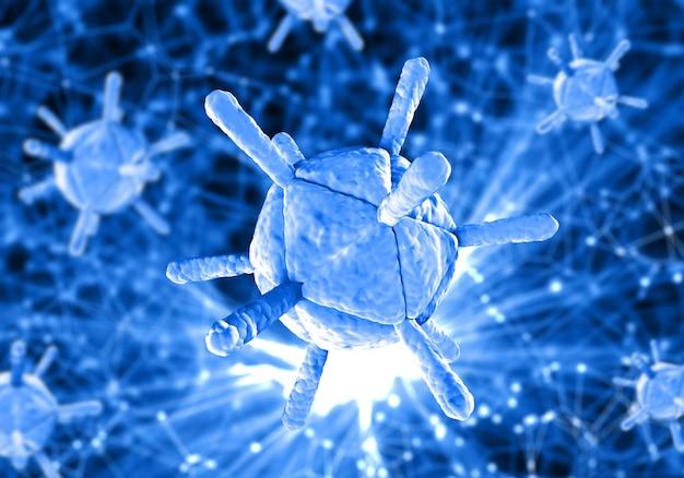 3d медицинский фон с вирусными клетками на расфокусированном низкополигональном дизайне Бесплатные Фотографии