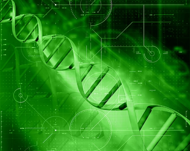 3d medical technology background with dna strand Free Photo