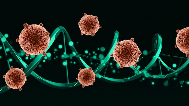3d medical virus cells on a dna strand Free Photo