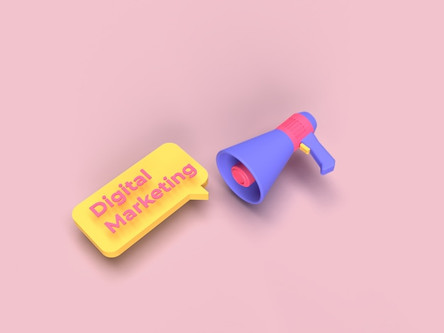 3d megaphone and digital marketing text with pink background color rendered Premium Photo