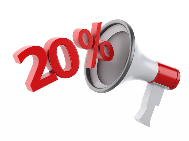 3d megaphone with percent discounts. Premium Photo