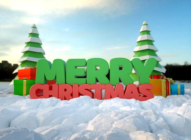 3d текст с рождеством похоронен под снегом с елки и подарочные коробки Premium Фотографии