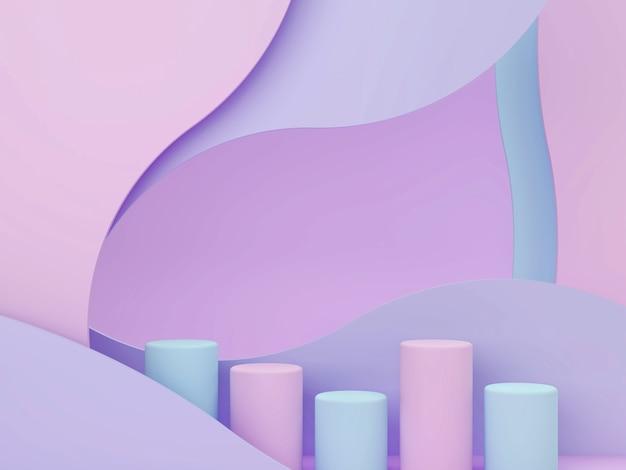 기하학적 형태, 연단 및 파스텔 색상의 곡선 추상적 인 배경을 가진 3d 최소한의 장면. 프리미엄 사진
