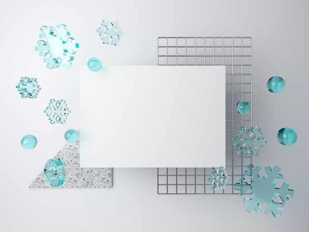 3d minimal winter scene with falling snowflakes. blank space for text and metal grid on white background, piece of terrazzo. Premium Photo