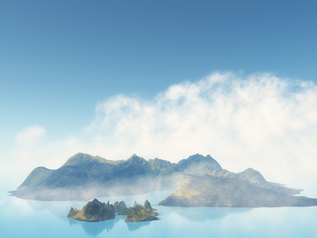 3d misty island in the sea Free Photo