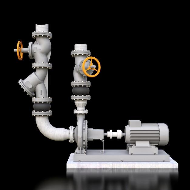 Модель 3d промышленного раздела насоса и трубы с запорными клапанами на черном изолированном космосе. 3d иллюстрации Premium Фотографии