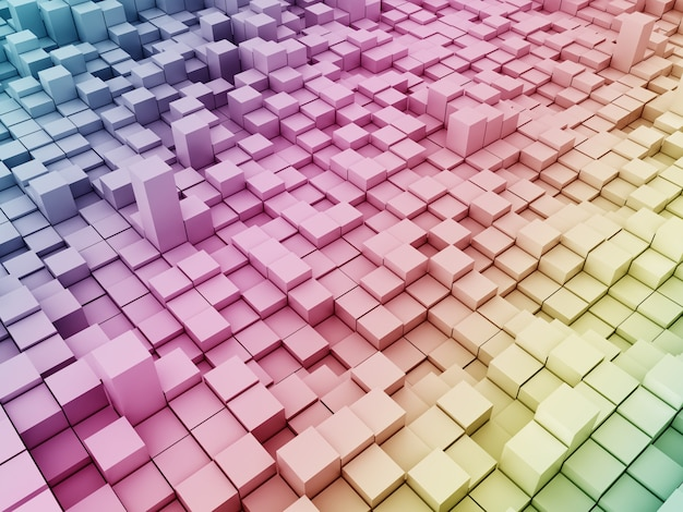 3d modern background with rainbow coloured extruding blocks Free Photo