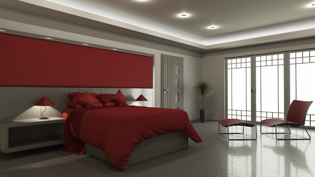 3d modern bedroom interior Free Photo