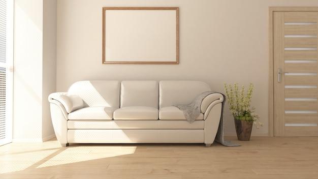 3d modern living roomインテリアとモダンな家具 無料写真