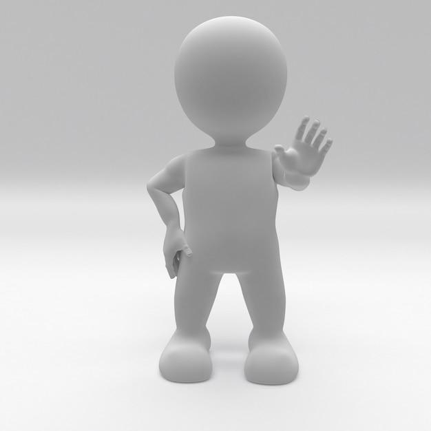 3d morph man tendendo la mano per fermarsi Foto Gratuite