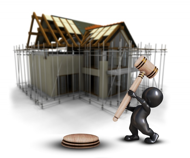 3d morph man with gavel against a defocussed house under construction image Free Photo