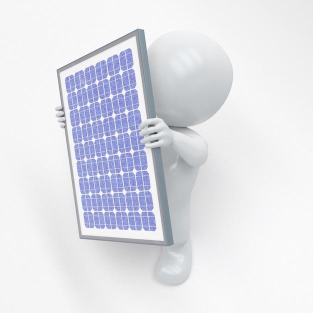 ソーラーパネルと3 dモーフ男 無料写真