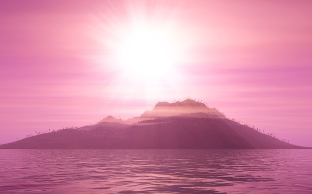 3d mountain landscape at sunset Free Photo