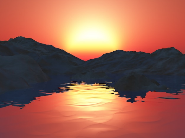 3d mountains with ocean against a sunset sky Free Photo