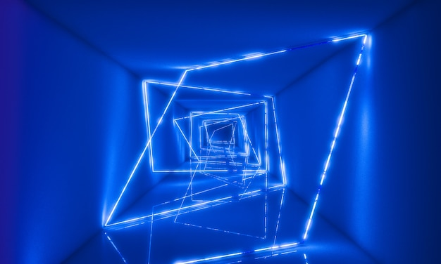 3d neaon light in tunnel Premium Photo