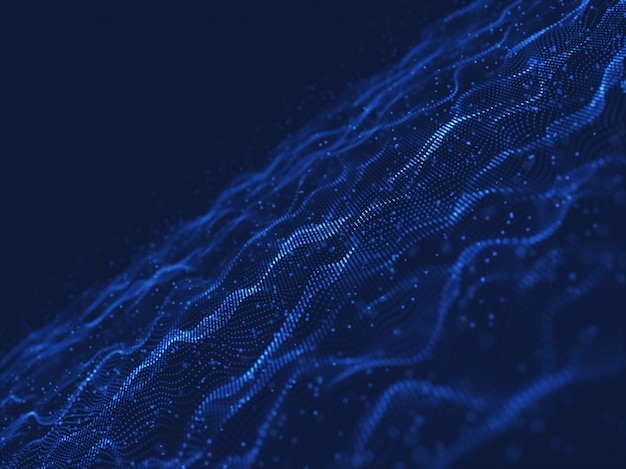 3d network communications background with flowing and floating particles Free Photo