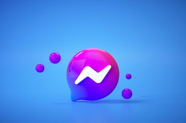 Приложение с логотипом 3d new facebook messenger на синем фоне, общение в социальных сетях. Premium Фотографии
