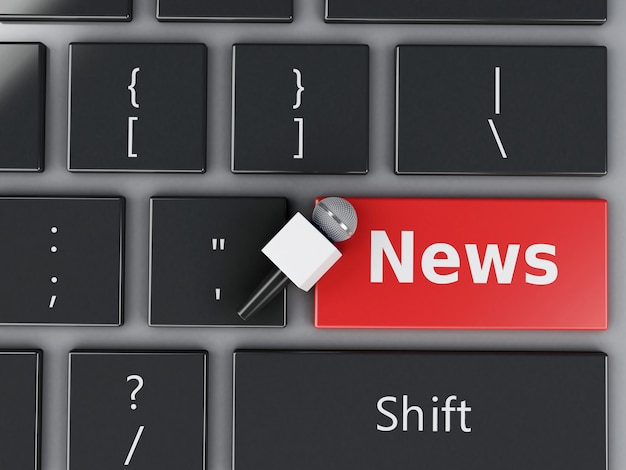 3d news microphone and computer keyboard. Premium Photo