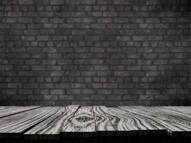 3d old rustic table against a brick wall background Free Photo